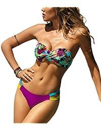 65ee82fd44 tengweng Womens Bikini Set Push up Swimwear Two Piece Padded Swimsuit  Stripe Swimming Bathing Suit