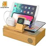 HiGoing Handy Induktionsladegeräte, Bambus 5-in-1 Multi USB Ladestation für iWatch und AirPods, Schnelles Kabelloses Ladegerät Induktive Ladestation Kompatibel mit Samsung iPhone und alle Qi Geräte