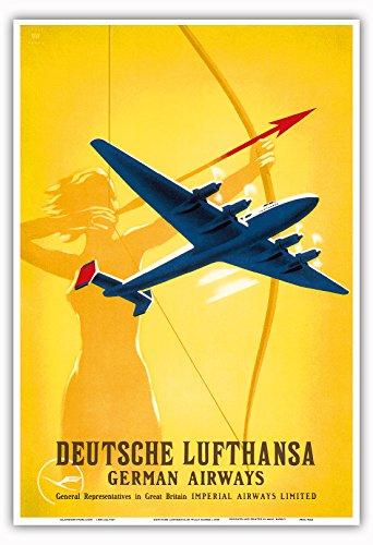 deutsche-lufthansa-companie-aerienne-allemande-femme-arc-et-fleches-tirer-a-larc-vintage-airline-tra
