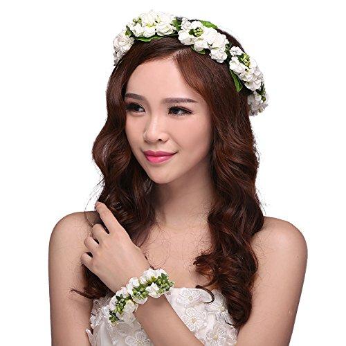 Blumenkranz Haare Blumen Haarschmuck Blumenstirnband und Floral Handgelenk Band für Hochzeits Weiß