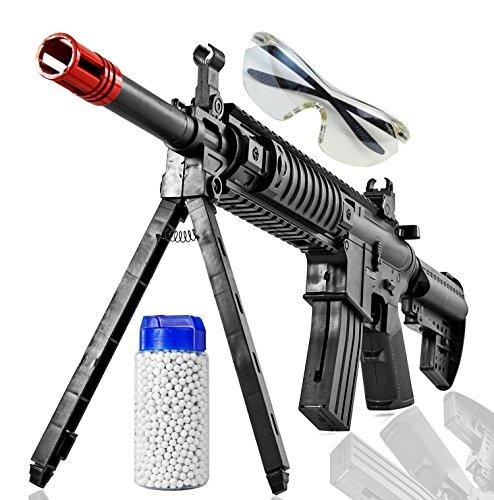 Softair-Gewehr Set 500 inkl. Kugeln, ABS ca. 56 cm Federdruck 6 mm Schutzbrille, Zweibein ab 14 Jahren unter 0,5 Joule