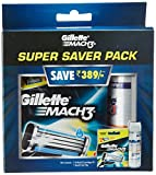 #6: Gillette Mach 3 Manual Shaving Razor Blades - 8 Cartridges with Match3 Gel - 70g (Super Saver Pack)