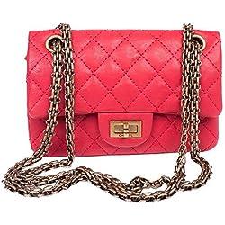 LuxDeals - Bolso al hombro de Piel para mujer Rojo Red