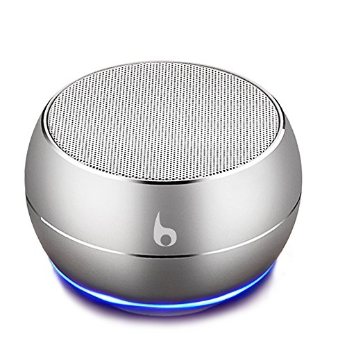 OKE Mini Bluetooth Lautsprecher, Kabellos Tragbar Bluetooth Musikbox, Stereo Klang mit tiefem Bass, Metal Gehäuse, eingebautem Mikrophone für Freisprechen, AUX und MikroUSB Kabel, unterstützt Micro SD Karte (Silber)