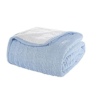Alicemall Cozy Soft Cotton Acrylic Blend Knit Bed Throw Bed Blanket Sofa Blanket Outdoor Throw (sky blue)