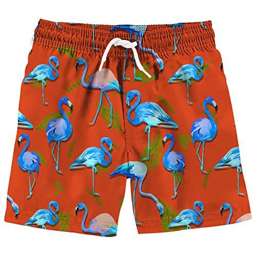 Vogseek Kinder Junge Badehose Lustige 3D Blau Flamingo Print Strand Shorts Studenten Wasserdichte Elastische Taille Schwimmen KostüM