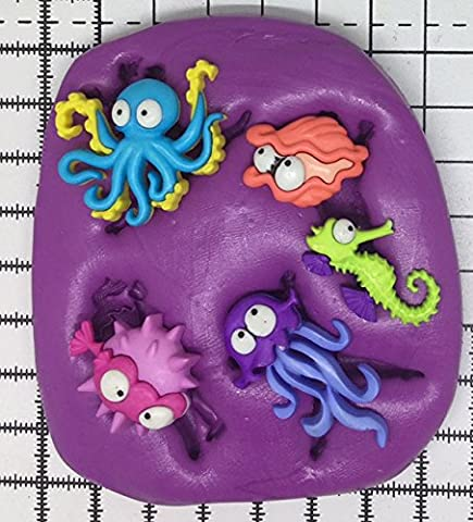 Sea Creatures Seepferdchen Octopus Jelly Fish Silikon mould. mold. moulds. Topper