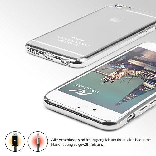 URCOVER® Case Cover Custodia Trasparente Apple iPhone 6 Plus / 6s Plus di Silicone TPU | Morbida Protettiva Flessibile Lavabile Leggera con Bordo Cromato in Argento Argento