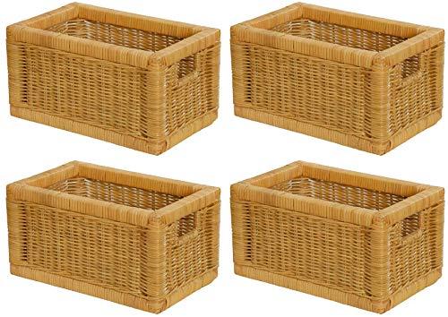 Stabiles Set 4 Regalkorb mit Holzrahmen aus echtem Rattan/Schübe mit Griff cm Schubfach Regal Korb (Set/4 20x32x17) -
