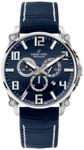 Pierre Petit Le Mans P-827C - Reloj cronógrafo de cuarzo para hombre, correa de cuero color azul (cronómetro)