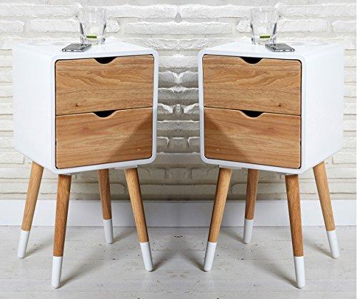 Wholesaler GmbH 2er Set Vintage Nachttische 30 x 35 x 70 cm im skandinavischen Retrolook in weiß Natur mit 2 Schubladen Nachtschränke Nachtkonsolen Nachtkästchen Nachtkommoden