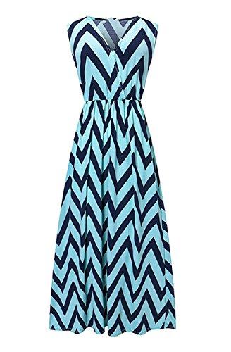 Très Chic Mailanda Sommerkleid Damen Partykleid Lang Chiffon High Waist Striped Sleeveless Beach Kleid Elegant (X-Large, Blau-Schwarz)