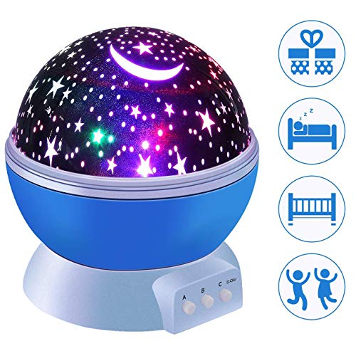 Cimic Star Night Light, Moon Stars Projektor, Drehen 9 Farboptionen Romantische Nachtbeleuchtung Lampe, USB Cable/Batterien Bedroom Baby Night Lights for Kids