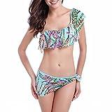 SiDiOU Group Di alta qualità ad alta elastico donne Costume da bagno sexy di stampa tailleur Bikini Lotus femminile bordo del foglio Nuoto in mare nuotata (S, Blu)
