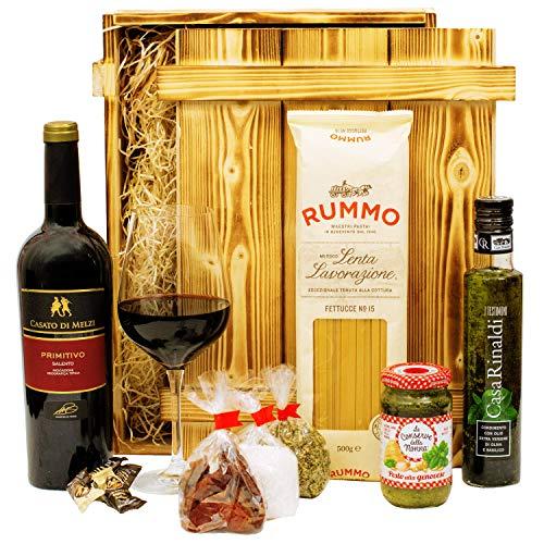 Geschenkset Verona | Italien Geschenkkorb gefüllt mit Wein, italienischen Spezialitäten & Holzkiste | Feinkost…