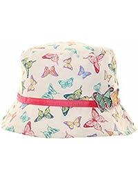Filles coton chapeau de soleil -Papillon impression et détails