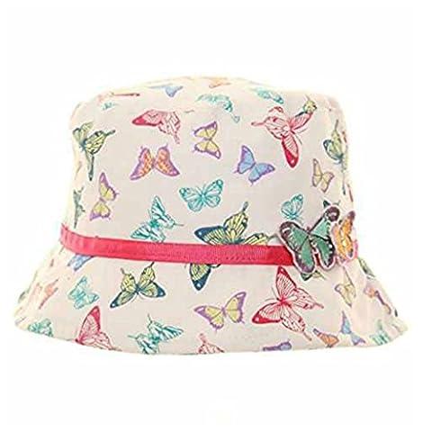 Pour filles 3D Arc-en-ciel Papillon Bucket Style Été Soleil Plage Chapeau - Pour Filles, Multicolore, 6-14 ans -