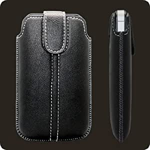 Soft Leather Slip Pouch Case Cover Black for Blackberry Bold   Curve   Storm RIM Models - 9700, 9790, 9900 9930 Touch 3G 8300 8310 8320 8330 8350i 8520 8530 8900 9300 9350 9360 9370 9380 9500 9530 9520 9550
