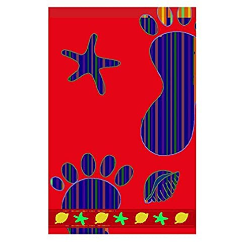 Linens Limited Footprint 100% Egyptian Cotton Velour Beach Towel, Red