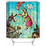 Shower Curtain, (Animal Paradise) Watercolor Style Cute Cartoon Rabbit Pattern,Soft Polyester | Waterproof Fabric Bath Curtain Design 60