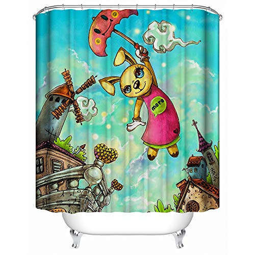 "Shower Curtain, (Animal Paradise) Watercolor Style Cute Cartoon Rabbit Pattern,Soft Polyester | Waterproof Fabric Bath Curtain Design 60"" x 72"""
