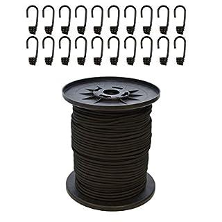 Expanderseil 30 m Schwarz 10 mm Gummiseil Gummischnur Spannseil Planenseil Gummileine elastisches Seil spannen und befestigen + 20 Spiralhaken Schwarz für ø 10 mm Expanderseil