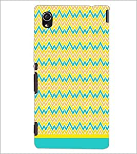 PrintDhaba Zig Zag Pattern D-1696 Back Case Cover for SONY XPERIA M4 AQUA (Multi-Coloured)