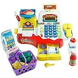 Supermercato giocattolo per bambini con registratore di cassa - rosso