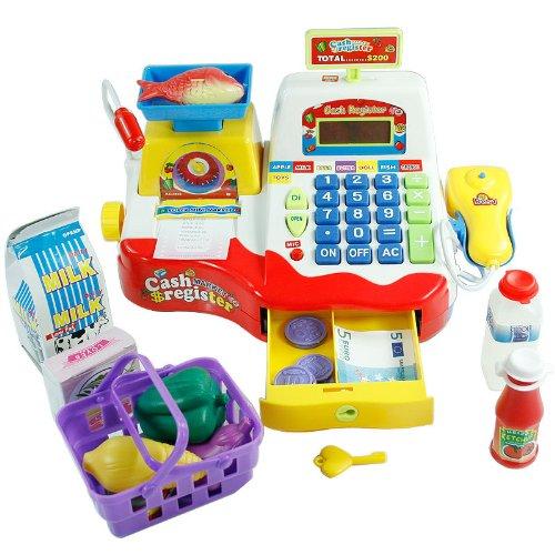 Jouet d'imitation caisse enregistreuse de supermarché pour enfant.;La caisse comprend un lecteur de code-barres, une balance, une calculette et un tiroir-caisse qui s'ouvre.;Émet des sons et nécessite 3 piles AA (non incluses).;Comprend un l...