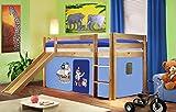 SixBros. Hochbett Kinderbett Spielbett mit Rutsche Massiv Kiefer Natur/Lackiert - Pirat Blau - SHB/78/1033
