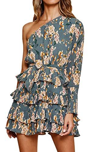 Spec4Y Damen Kleider EIN Schulter Blumen Sommerkleid Mehrschichtig Partykleid Plissee Mini Strandkleid mit Gürtel Blau S -
