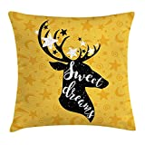 FAFANI Sweet Dreams Throw Pillow Cushion Cover by, Silhouette of Deer Animal with Antlers on a Doodle Background, Decorative Square Accent Pillow Case, 18 X 18 Inches, Earth Yellow Black White