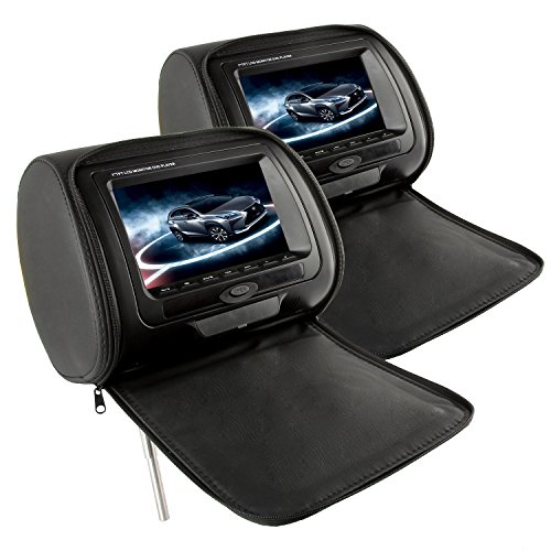 51OPQyHbC2L - BEST BUY #1 (2pcs per Set) 7inch TFT LCD Monitor Car DVD Player, 16:9 HD Screen Vehicle Headrest Digital Media Player (Black) by Discoball® Reviews and price compare uk