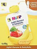 HiPP Frucht und Getreide im Quetschbeutel für Babys Apfel-Banane plus Babykeks, 4er Pack (4 x 90 g)