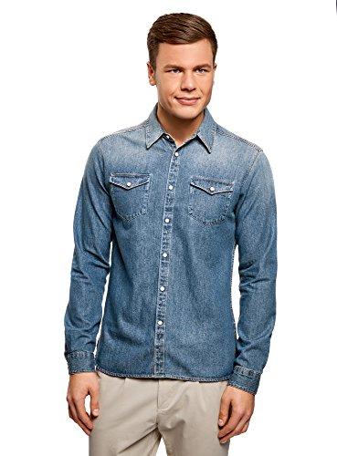 Oodji ultra uomo camicia in jeans con bottoni a pressione, blu, it 50-52/eu 52-54/l