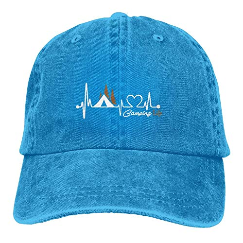 Yeh Roo Camping Sign Happy Camper Unisex Washed Twill Cotton Baseball Cap Vintage Adable Hat,One Yard,Blue01,