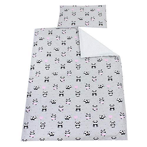 TupTam Kinder Bettwäsche Gemustert 2-Teilig, Farbe: Panda Rosa/Graue Tupfen, Größe: 135x100 cm