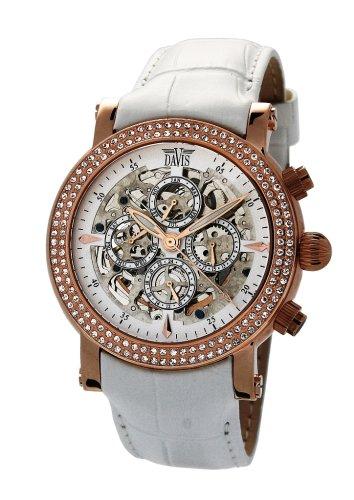 Davis 1386 - Reloj analógico automático para mujer con correa de piel, color blanco