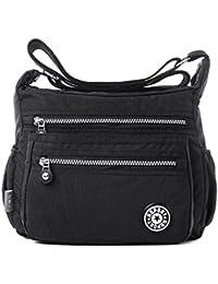 Women's Casual Multi Pocket Nylon Messenger Bags Cross Body Shoulder Bag Travel Purse
