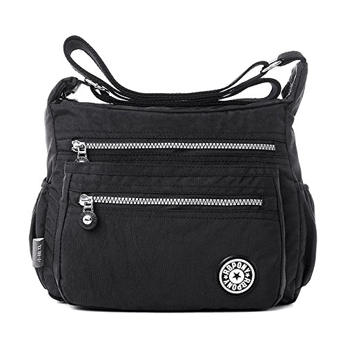 Women's Casual Multi Pocket Nylon Messenger Bags Cross Body Shoulder Bag Travel Purse (Black)