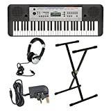 Yamaha YPT255 portable keyboard including adaptor, X-Frame stand and Numark HF125 headphones