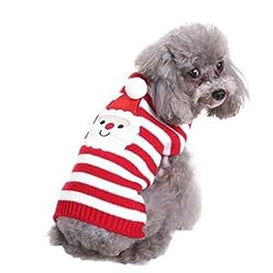 AAA226 Cucciolo sveglio del Babbo Natale dell'animale domestico del maglione del cane del collo della tartaruga lavorata a maglia - XL (*Weihnachtsmann)