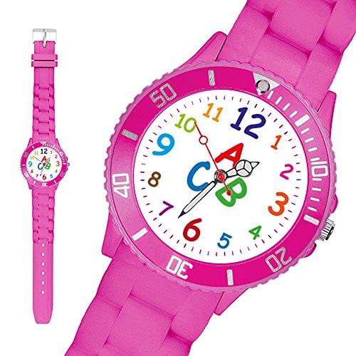 Taffstyle Kinder Armbanduhr Silikon Sportuhr Bunte Sport Uhr Kinderuhr Lernuhr Zahlen ABC Motiv Analog Pink - 2