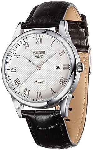 voeons Herren-Analog Quarz Uhren Vintage Römische Zahl schwarz echtes Leder Band Business Armbanduhr Auto Datum Casual Uhr für Herren