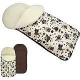 rawstyle Saco de pie de invierno * Marrón + búho $13* Saco de pie para bebé por ejemplo maxi-cosi, Römer, Cochecito o Buggy etc. nuevo Saco lana de cordero Búhos