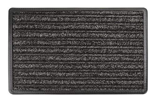 Carpet Diem Scratch&SOAK Schmutzfangmatte mit Kratzfaser + Saugfaser und Schmutzfang Rand und Rillen - Fußmatte Innenbereich und Aussenbereich anthrazit grau