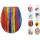 Sanwood 6162800Siège de toilette WC Shabby Stripes en duroplast avec système d'abaissement automatique Soft Close, motif, 45,4x 37x 5,8cm