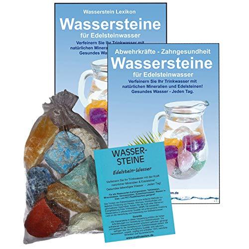 EDELSTEINE für WASSER VERDAUUNG & STOFFWECHSEL 4-tlg SET   300g WASSERSTEINE zur Wasseraufbereitung für Trinkwasser + Anleitung Wasser-Energetisierung + Booklet + Zubehör   90045