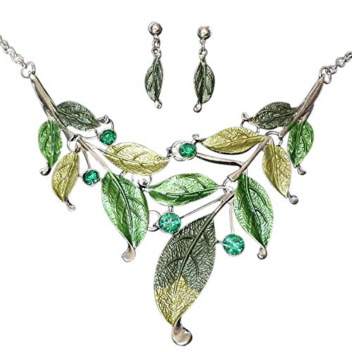 SevenAndEight S&E Frauen Blatt Halskette & Ohrring Set Kette mit Ohrstecker Modeschmuck Schmuck - Grünen Kostüm Schmuck Sets