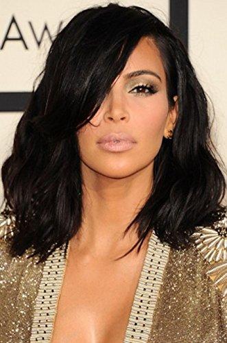 Kim-Kardashian-hombro-longitud-corte-de-pelo-desordenado-Bob-encaje-frente-pelucas